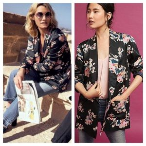 Anthro Ett:twa Tavie Black Floral Oversized Blazer
